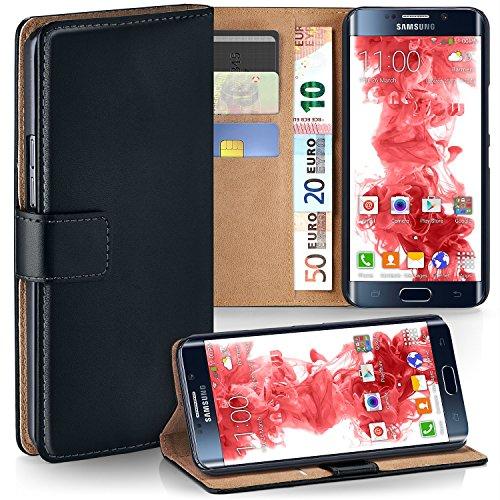 moex Samsung Galaxy S6 Edge | Hülle Schwarz mit Karten-Fach 360° Book Klapp-Hülle Handytasche Kunst-Leder Handyhülle für Samsung Galaxy S6 Edge Case Flip Cover Schutzhülle Tasche