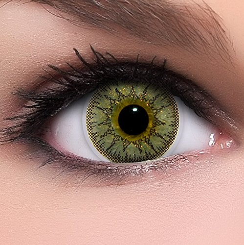 Linsenfinder Lenzera Circle Lenses goldene 'Gold Juwel' ohne Stärke + Kombilösung + Behälter 14,50mm farbige Kontaktlinsen