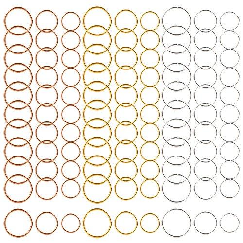 270 Piezas / 3 colores 3 size de Bobina de Pelo Anillos de Trenza de trenzado de pelo de anillos de pelo aros clips