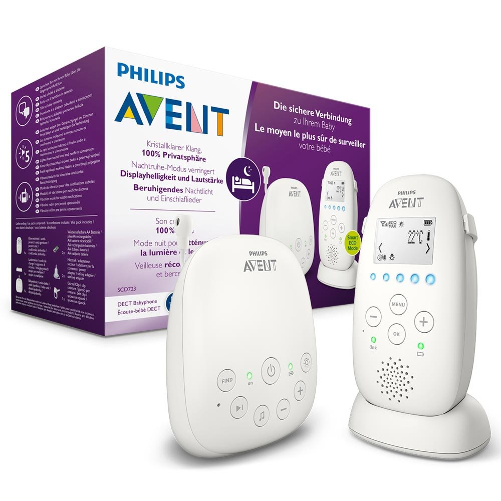 Philips AVENT SCD723/26 Audio-Babyphone, DECT-Technologie, Eco-Mode, 18 Std. Laufzeit, Gegensprechfunktion