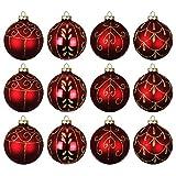 Set Weihnachtskugeln 12 Stück Ø8cm 4 Sorten mit goldenen Glitzer Glas Rot Christbaumschmuck Baumschmuck Christbaumkugeln Weihnachtsbaumkugeln