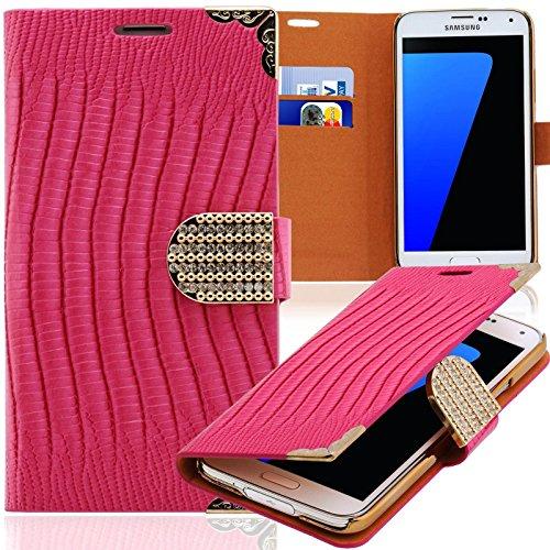 Luxus Strass Handy Tasche Schutz Hülle für HTC One (M7) Pink Book-Style Leder Etui Glitzer Case Cover Bag