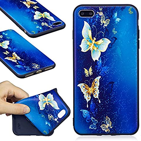 Apple iphone 7plus Case,Meet de Soft Silicone Bumper Ultra Thin Slim Flexible Cover Case ,High Quality TPU with Colorful Cute Printed Pattern Fashion Design Protective Back Rubber Case Cover Shell Perfect Fitted For Apple iphone 7plus - Deep Sea Butterfly