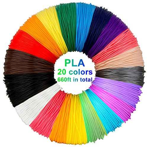 3D Stift Filament PLA, 20 Farben, je 10M - 3D Pen PLA Filament 1,75mm, 3D Stift Farben Set für ODRVM, Tecboss, Lovebay, 3D Stift and 3D Druck Stift
