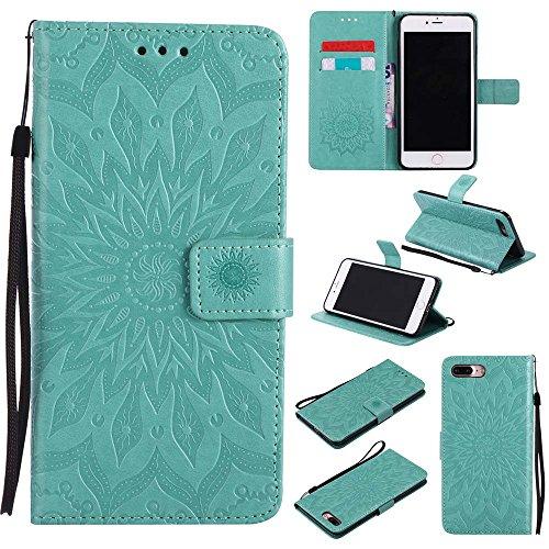 Custodia iPhone 7 Plus, Dfly Premium PU Goffratura Mandala Design Pelle Chiusura Magnetica Protettiva Portafoglio Custodia Super Sottile Flip Cover per iPhone 7 Plus 2016, Rosso Verde