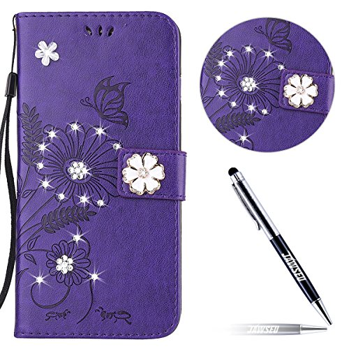iPhone 6S Plus Custodia in Pelle, iPhone 6 Plus Cover Portafoglio, JAWSEU Goffratura Arts Farfalla Diamante Disegno [Shock-Absorption] Libro Folio PU Leather Wallet Case Cover per iPhone 6 Plus/6S Plu Floreale Diamante, Porpora