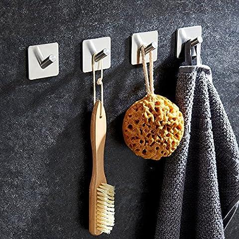 XY Life Wandhaken Handtuchhaken Handtuchhalter Bademantelhaken Türhaken Kleiderhaken Wandhalter klebehaken Geschirrtuchhalter Hakenleiste Handtuch Racks Wand Haken halter, mit 3M selbstklebend, ohne bohren klebehalter Badezimmerhaken für Badezimmer Küche und Bad Bademantel, Edelstahl, 4 PCS