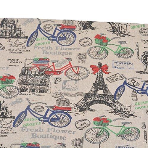 Souarts Textile Tissu Coton Lin pour Diy Patchwork Motif Velo Tour Eiffel 98cmx50cm