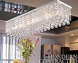 Dst moderne Luxus Regen fallen Deckenleuchten Rechteck klar K9 Kristall-Kronleuchter mit 5 Lampen für Wohnzimmer, Schlafzimmer oder Arbeitszimmer L31.5