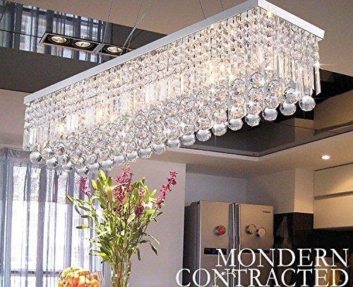 """Dst moderne Luxus Regen fallen Deckenleuchten Rechteck klar K9 Kristall-Kronleuchter mit 5 Lampen für Wohnzimmer, Schlafzimmer oder Arbeitszimmer L31.5 """"X W10"""" X H8.8 """" (Style One)"""