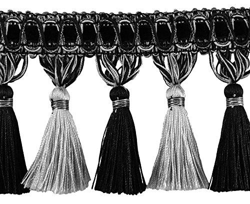 Elegante 33/10,2cm Fransen Quaste lang–schwarz, silber grau SGB (Verkauft von der Hof)