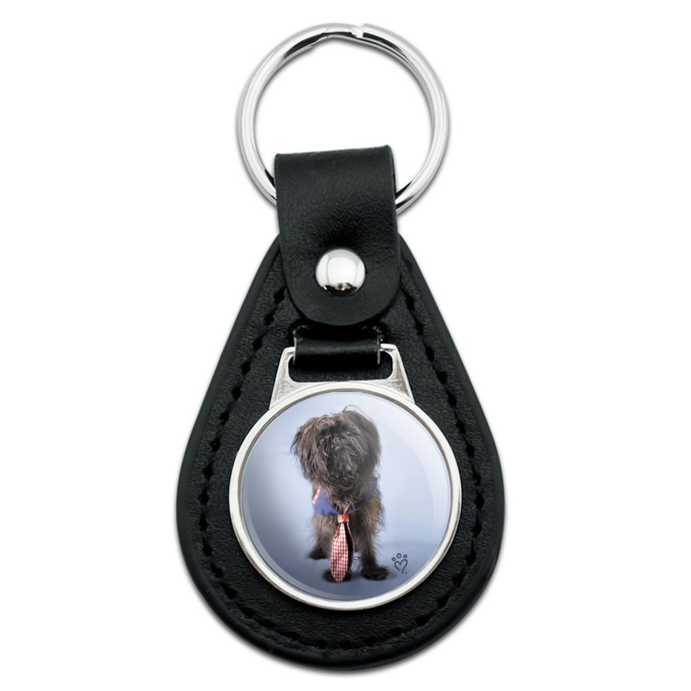 Affenpinscher Puppy Dog with Tie Black Leather Keychain