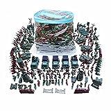 SHUNDATONG 1:42 Escala Gran cubo de 307 piezas / Set de guerra civil de plástico Ejército de los hombres de juguete Conjunto de acción figura de tanque Tank Playset Modelo de kit de bolso para niños de 3 años y mayores Cake Topper