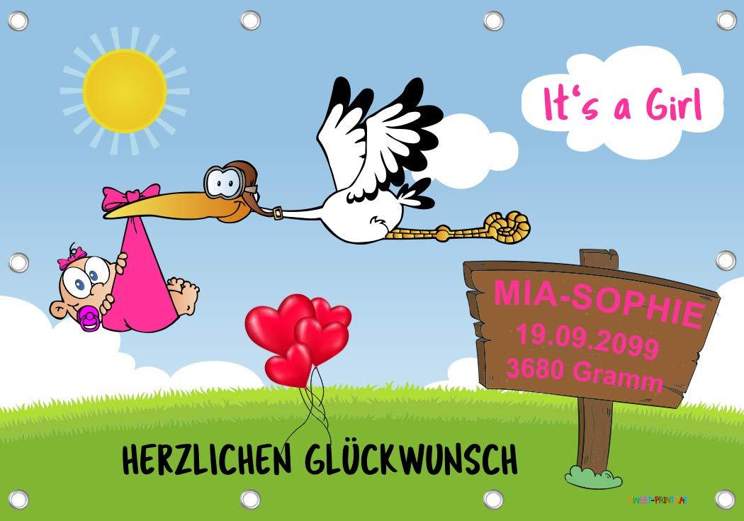 Banner 96x66 cm inklusive 140-teiligem Klebebuchstaben-SET - It's a Girl Babystorch-Banner zur Geburt - MÄDCHEN ROSA…
