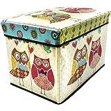 Sterling Stools for Sitting Foldable Ottoman Storage Box Cum Stool - Owl Print Design Foldable Stool (Size 30 x 30 x 48 cm)