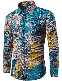 10e220b57a Allthemen - Camisa Casual - Button Down - Cachemir - Cuello ópera - Manga  Larga -