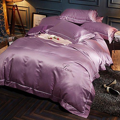 BB.er Reine Baumwolle Seide Bettwäsche gewaschen vier Sätze von Bettwäsche Bettbezug Kissenhülle, Lila, 200 * 230 cm