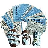 AIUIN Azul Pegatina de Uñas Francesas Guías de Clavar Tip Pegatinas Conjunto con Diferentes Formas para Uñas de Manicura,54*64MM (50 Piezas)