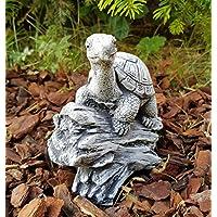Garten-Figur Schildkröte Schildi auf Baumstamm frostfest Deko für Terrarium Aquarium