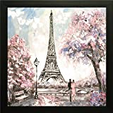Eiffel Tower With Cherry Blossom Exclusive Framed Wall Art Paintings For Living Room And Bedroom. Frame Size (12 Inch X 12 Inch, (Wood, 30 Cm X 3 Cm X 30 Cm, Special Effect Textured) (12)