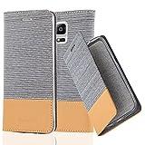 Cadorabo Hülle für Samsung Galaxy Note 4 - Hülle in HELL GRAU BRAUN – Handyhülle mit Standfunktion und Kartenfach im Stoff Design - Case Cover Schutzhülle Etui Tasche Book