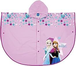 Perletti Disney Frozen Kinder Regenponcho - Wasserdicht Regencape mit Kapuze und Knöpfe - PVC Regenjacke mit Anna und ELSA - Pink