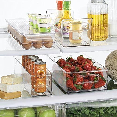 mDesign 4er-Set Kühlschrankbox – 2 x Kühlschrankboxen, Gewürz Caddy und Eierbox mit Deckel – praktische Aufbewahrungsboxen aus Kunststoff – ideale Küchen Ablage für den Kühlschrank – durchsichtig (Gewürz-caddy)