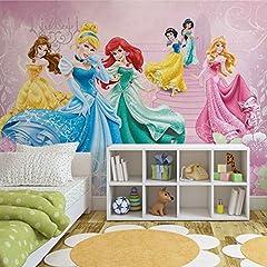 Idea Regalo - Fotomurale da Parete 591VEXL - Disney Principesse - XL - 208cm x 146cm - 2 Strisce - Carta da murale di prima qualità 130gsm EasyInstall