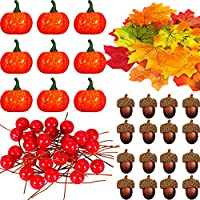 Boao 162 Pieces Artificial Maple Leaves, Mini Harvest Pumpkins, Faux Acorn, Lifelike Berries Set for Halloween Thanksgiving fall,autumn Home Party Decorations