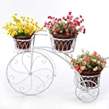 Kundi 3-Tier Garden Cart Planter Stand Tricycle Plant Holder - Planter Holder- Ideal for Home, Garden, Patio - Great Gift for