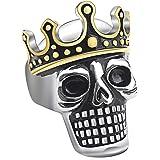 OAKKY Anello Corona Gotica Cranio Uomo Acciaio Inossidabile
