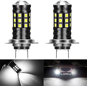 QIANRUNHR 2x H7 3030 12LED CAR LED Headlight Kits 50W 14000LM FOG Lights Bulbs 6000K Driving DRL Lamp