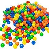LittleTom 100 Bällebadbälle Ø 6cm Bälle-Set für Bällebad bunte Spielbälle Kinder-Bälle für Bällebad-Pool Plastikbälle Babybälle | 5 gemischte Farben Gelb Rot Blau Grün Orange | geprüfte Qualität