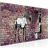 Bilder Banksy Washing Zebra Wandbild 200 x 80 cm Vlies - Leinwand Bild XXL Format Wandbilder Wohnzimmer Wohnung Deko Kunstdrucke Braun 5 Teilig -100% MADE IN GERMANY - Fertig zum Aufhängen 012955b