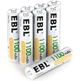 EBL AAA Rechargeable Batteries 1100mAh, 8 Counts AAA Batteries with Storage Case