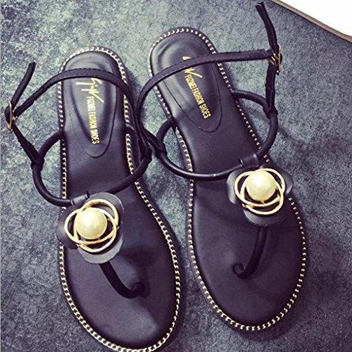 DM&Y 2017 versione estiva coreana dei sandali piani delle donne perla diamante punta della clip con i sandali piatti a fogli mobili Black