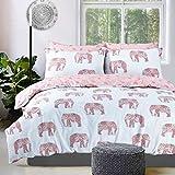 Eirene Threadz Modern Printed Polycotton Duvet Cover Set with Pillow Cases Bedding Sets (Double, Elephant Multi)