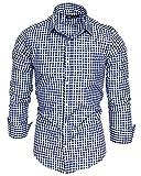 Amaci&Sons Herren Kariertes Slim-Fit Trachtenhemd Bügelleicht Oktoberfest Karo Hemd 5006 Royalblau L
