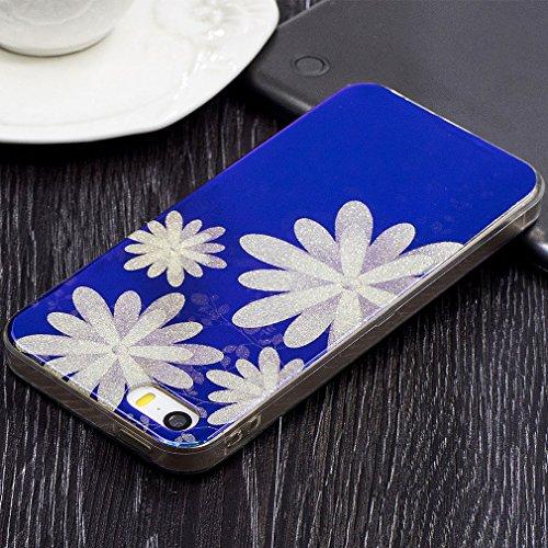 Hülle Für iPhone SE,Blaues Licht Reflektieren Handy Hülle Für iPhone 5S,Funyye Luxuriös Schön Mode Blau Licht Weiß Floral Blume Muster Entwurf Shining Glitzer TPU Soft Weich Ultra Thin Dünn Zurück Sil Weiß Blume