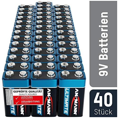 ANSMANN 9V Block Batterien 40 Stück - Alkaline 9 Volt Blockbatterie ideal für Bewegungsmelder,...
