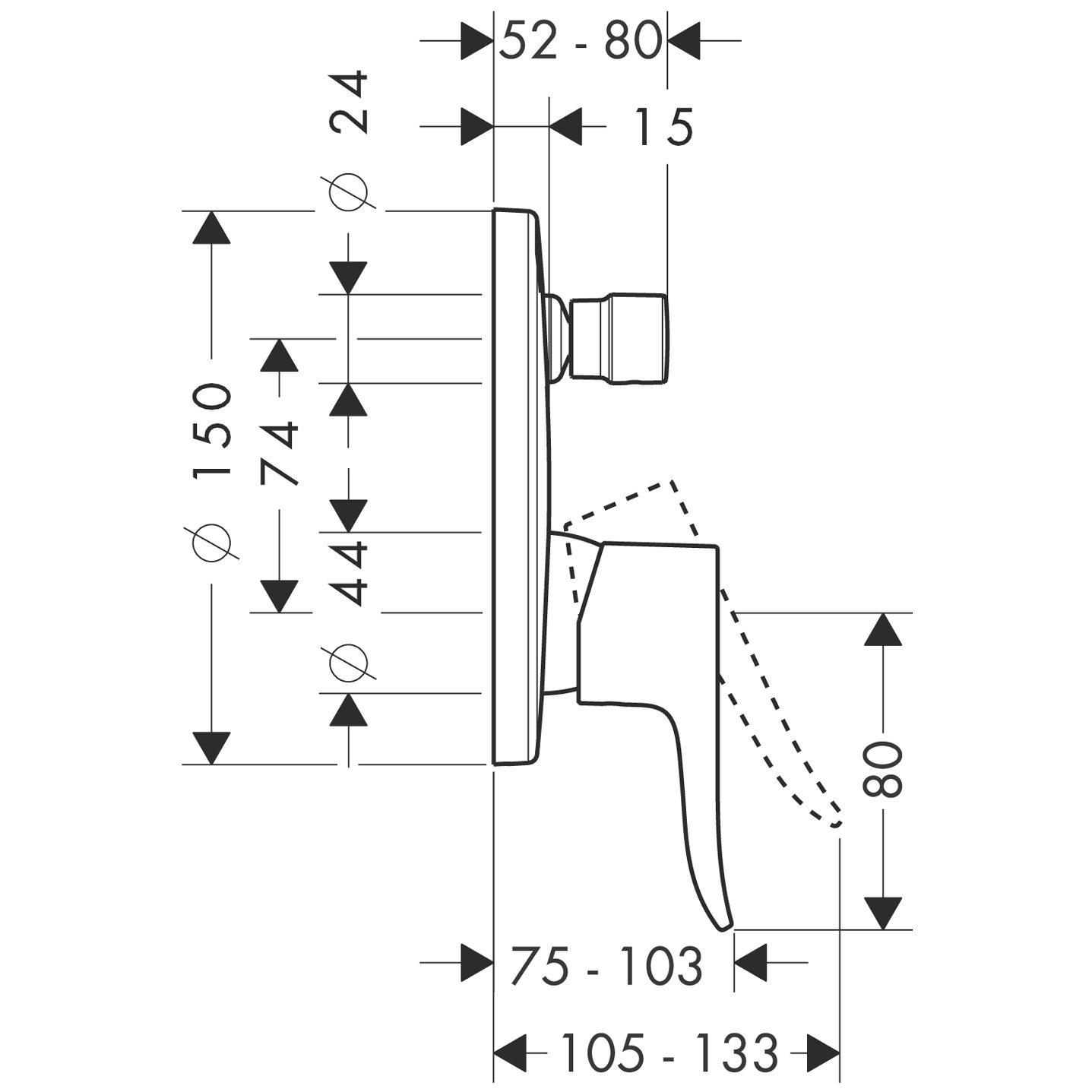 Cromo Hansgrohe 31451000 Metris Grifo de ba/ñera empotrado con combinaci/ón de seguridad integrada