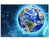 Paul Sinus Art Leinwandbilder | Bilder Leinwand 120x80cm der Blaue Planet im Weltraum