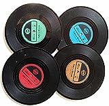 Bllatta Silikon-Untersetzer - 4 St¨¹ck, Schwarz Glasuntersetzer-Set f¨¹r Bar, Wohnzimmer, K¨¹Che,Retro Style Records CD