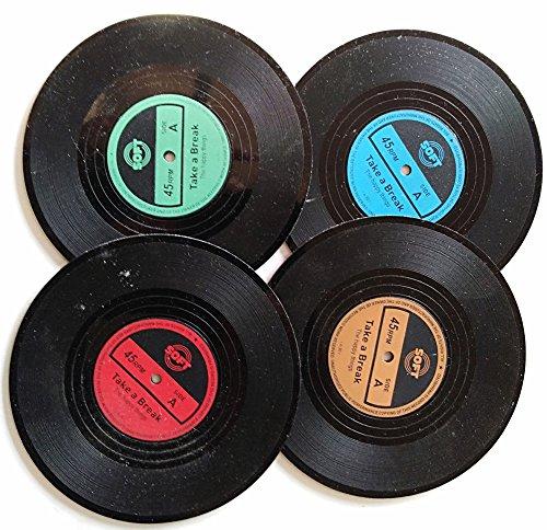 Bllatta Silikon-Untersetzer - 4 St¨¹ck, Schwarz Glasuntersetzer-Set f¨¹r Bar, Wohnzimmer, K¨¹Che,Retro Style Records CD -