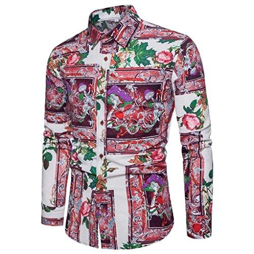 VEMOW Herbst Frühling Winter Persönlichkeit Business Hem Männer Casual Schlank Langarm Gedruckt Tägliche Party Workout Formale Mode Shirt Top Bluse(Wassermelonenrot, 46 DE/L CN)