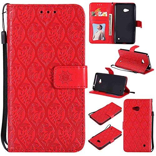 pinlu® PU Leder Tasche Handyhülle Für Microsoft Lumia 640 Dual-SIM Smartphone Wallet Hülle Mit Standfunktion und Kartenfach Design Rattan Blume Prägung Rot