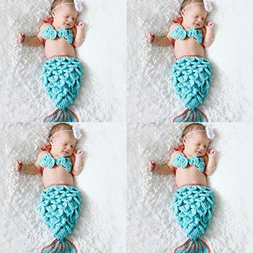 Sunfire handgefertigt Crochet Knit Kostüm Foto Fotografie Prop Mermaid Outfits Haarband BH Tail - Blue Mermaid Kostüm