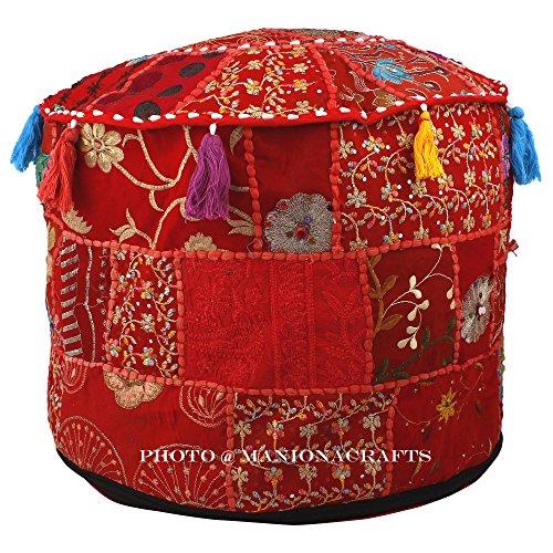 Baumwolle Runde Osmanischen (Indische Wohnzimmer Pouf, Fusshocker, rund osmanischen Pouf, traditionelle handgemachte dekorative Patchwork osmanischen Cover, Indian Home Decor Baumwolle Pouf)