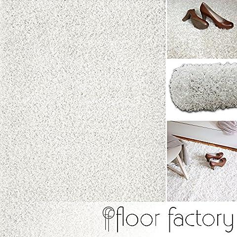 Tapis 160 X 160 Blanc - Tapis shaggy longues mèches Loca blanc crème