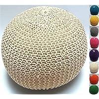 Reposapiés Millhouse de punto de algodón para sala de estar o dormitorio, tela, crema, 50cm